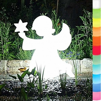 8-Seasons-Design-Leuchtobjekt, Engel, Weiß, H 80 x B 80 x T 18 cm, Indoor/Outdoor, LED-Farbw./Fernbed., CE IP44, Netzstecker, 5 m Kabel