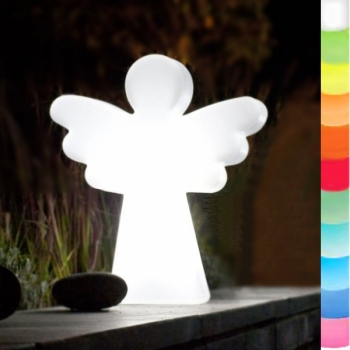 8-Seasons-Design-Leuchtobjekt, Engel, Weiß, H 40 x B 34 x T 10 cm, Indoor/Outdoor, LED-Farbw./Fernbed., CE IP44, Netzstecker, 5 m Kabel
