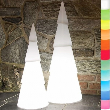 8-Seasons-Design-Light-Object, X-Mas Tree round, white, Ø 29 x H 75 cm, Indoor/Outdoor, LED-color change/remote ctrl, CE IP44, power plug, 5 m cable