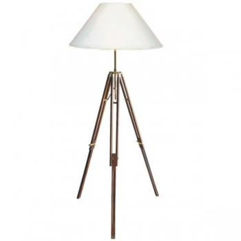 Tripod Lamp with chintz shade, crème white, shiny brass, mahogany coloured, h 166/187 x Ø 50 cm