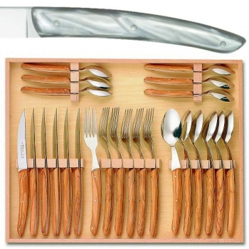 Thiers cutlery, set of 24 in box 6 knives, 6 forks, 6 spoons, l 23 cm, 6 coffee spoons, l 16 cm, light grey marbled