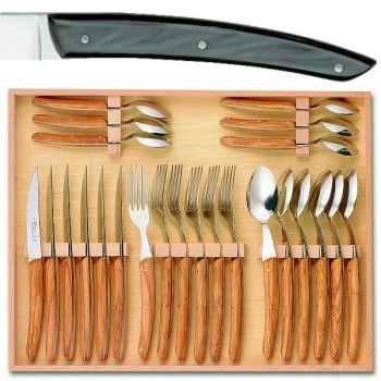 Thiers cutlery, set of 24 in box 6 knives, 6 forks, 6 spoons, l 23 cm, 6 coffee spoons, l 16 cm, dark grey marbled