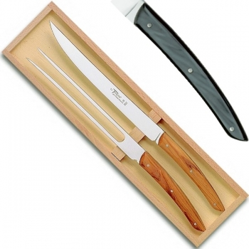 Thiers carving set serving set in box, l 32 cm, dark grey marbled
