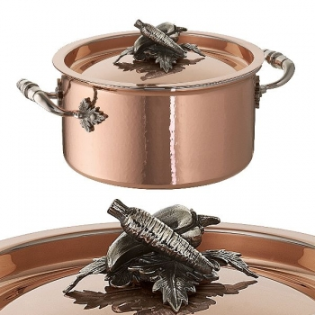 Ruffoni Opus Cupra Stock Pot with lid, copper, hammered and polished/stainless steel, handles and lid knob solid brass silver plated, theme carrot/pepper,  Ø 16 x h 8 cm