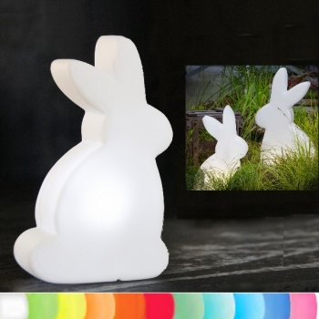 8-Seasons-Design-Leuchtobjekt, Hase, Weiß, H 50 x B 29 x T 10 cm, Indoor/Outdoor, LED-Farbw./Fernbed., CE IP44, Netzstecker, 5 m Kabel