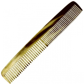 Genuine horn comb, fine/wide, straight, hand cut und hand polished, l 17.5 cm