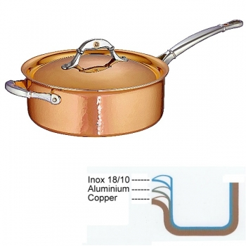 Ruffoni Symphonia Cupra Sauté Pan, hammered polished copper/stainless steel, Ø 24 x h 9 cm, 4.0 l