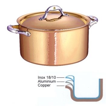 Ruffoni Symphonia Cupra Stock Pot high with lid, hammered polished copper/stainless steel, Ø 26 x h 14.5 cm, 5.0 l