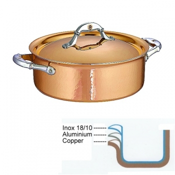 Ruffoni Symphonia Cupra Stock Pot low with lid, hammered polished copper/stainless steel, Ø 24 x h 9 cm, 4.0 l