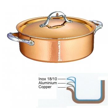 Ruffoni Symphonia Cupra Stock Pot low with lid, hammered polished copper/stainless steel, Ø 26 x h 9 cm, 5.0 l