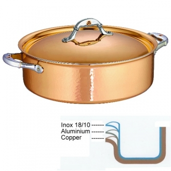Ruffoni Symphonia Cupra Stock Pot low with lid, hammered polished copper/stainless steel, Ø 30 x h 9.5 cm, 7.0 l