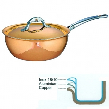 Ruffoni Symphonia Cupra Stew Pan with lid, hammered polished copper/stainless steel, Ø 24 x h 9.5 cm, 4.0 l
