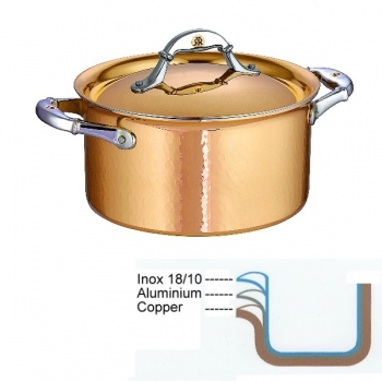 Ruffoni Symphonia Cupra Stock Pot high with lid, hammered polished copper/stainless steel, Ø 20 x h 11 cm, 3.5 l
