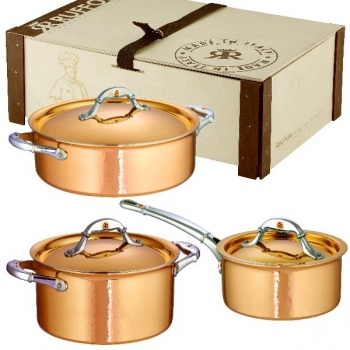Ruffoni Symphonia Cupra Pot Set, 6 parts, 2 Pots and 1 Casserole with lid each, copper ham./pol./stainless steel
