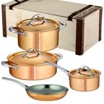 Ruffoni Symphonia Cupra Pot Set, 7 parts, 2 Pots, 1 Casserole w. lid each, 1 Frying Pan w/o lid, copper ham./pol./stainl. Steel, boxed