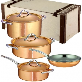 Ruffoni Symphonia Cupra Pot Set, 7 parts, 2 Pots, 1 Sauté Pan w. lid each, 1 Frying Pan w/o lid, copper ham./pol./stainl. Steel, boxed