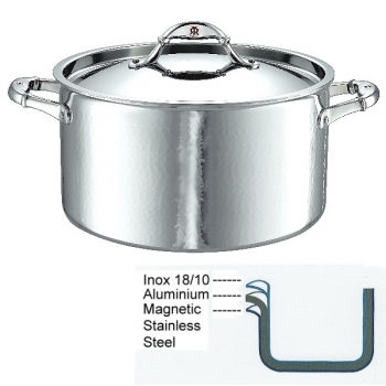 Ruffoni Symphonia Prima Induction Stock Pot high with lid, hammered polished stainless steel Ø 26 x h 14.5 cm, 8.0 l