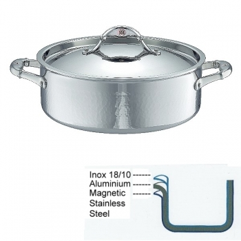 Ruffoni Symphonia Prima Induction Stock Pot low with lid, hammered polished stainless steel, Ø 26 x h 9 cm, 5.0 l