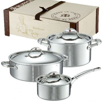 Ruffoni Symphonia Prima Induction Pot Set, 2 Pots and 1 Casserole with lid esch, stainl. Steel ham./pol., boxed