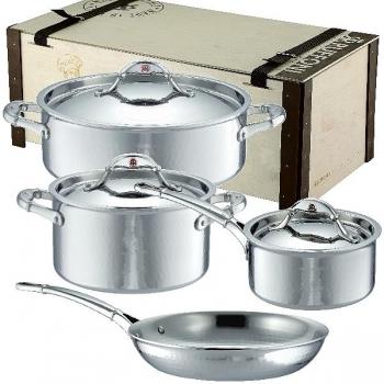 Ruffoni Symphonia Prima Induction Pot Set, 2 Pots, 1 Casserole w. lid each, 1 Frying Pan w/o lid, stainl. Steel ham./pol., boxed