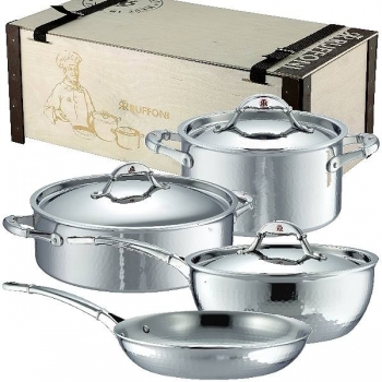 Ruffoni Symphonia Prima Induction Pot Set, 2 Pots, 1 Stew Pan w. lid each, 1 Frying Pan w/o lid, stainl. Steel ham./pol., boxed