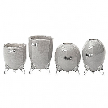 DutZ®-Collection Vases Set Evita, 4 different tripod vases, h 12/14/15/16 x Ø 9.5 cm, medium grey