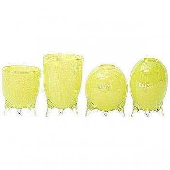 DutZ®-Collection Vases Set Evita, 4 different tripod vases, h 12/14/15/16 x Ø 9.5 cm, lime