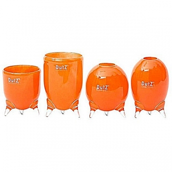 DutZ®-Collection Vases Set Evita, 4 different tripod vases, h 12/14/15/16 x Ø 9.5 cm, red orange