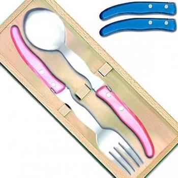 Laguiole Berlingot serving set, set of 2 in box, Azur, l 29 cm