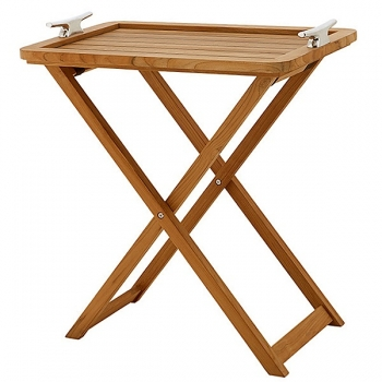 Eichholtz Butler Table Nautic Design, solid teak wood with solid nickeled handles l 75 w 50 x h 95 cm
