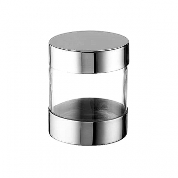 Odin Screw Cap Storage Glass with lid for Ultimate-Allround-Grinder, polished stainless steel, h 75 x Ø 62 mm