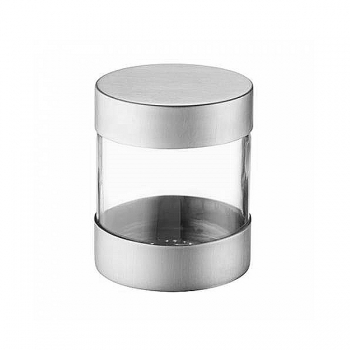 Odin Screw Cap Storage Glass with lid for Ultimate-Allround-Grinder, satined stainless steel, h 75 x Ø 62 mm