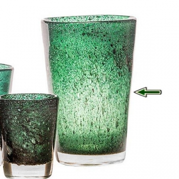 DutZ®-Collection Vase Conic with bubbles, h 36  x  Ø.24 cm, dark green