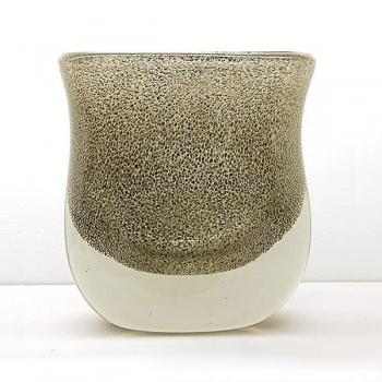 Henry Dean Flower Vase Sablon oval, h 21 x w 19 cm, Green Gold