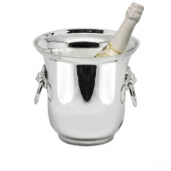 Edzard Champagne-Cooler/Wine-Cooler Capleon with 2 ring handles, shiny QualiPlated® with silver, h 21 x Ø 22 cm