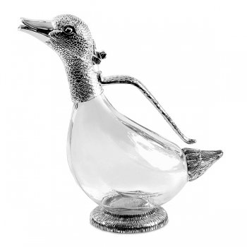 Edzard Carafe/Decanter Daisy, shiny QualiPlated® with silver/crystal glass, h 26 cm, capacity 0.9 l