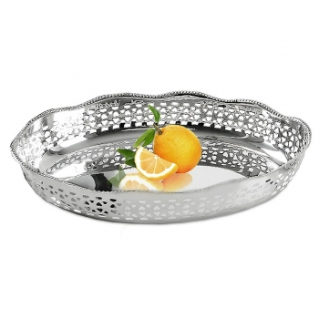 Edzard Serving Tray/Serving Basket Shiraz, shiny QualiPlated® with silver, l 30 x w 20 x h 7 cm