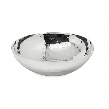Edzard Bowl Gina, polished and hammered, shiny QualiPlated® with silver, h 7 x Ø 23 cm