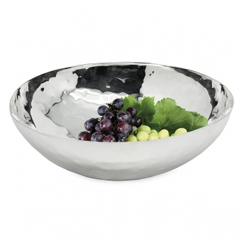 Edzard Bowl Gina, polished and hammered, shiny QualiPlated® with silver, h 8 x Ø 27 cm