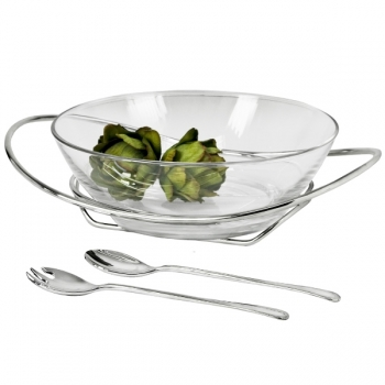 Edzard Salad Bowl Lima with Salad Servers, shiny silver plated/glass, h 9 x Ø 25/34 cm, servers 30 cm