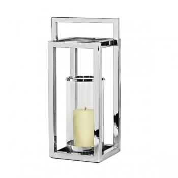 Edzard Lantern/Windlight Manhattan, shiny nickel plated/glass, h 58 x w 23 x d 23 cm