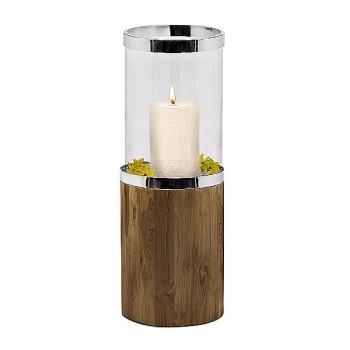 Edzard Lantern/Windlight Lowell, shiny nickel plated/glass/Teak wood, h 68 x Ø 24 cm