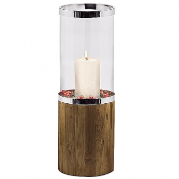 Edzard Lantern/Windlight Lowell, shiny nickel plated/glass/Teak wood, h 78 x Ø 26 cm