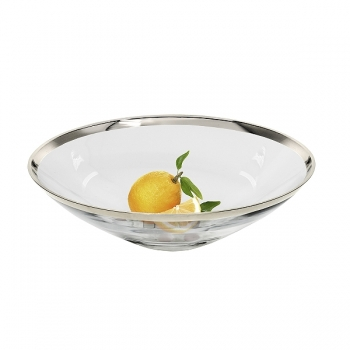 Edzard Bowl/Salad Bowl Cora, crystal glass Platinum coated, h 8 x Ø 27 cm