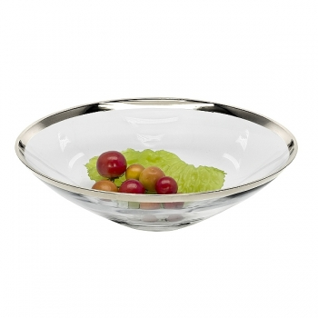 Edzard Bowl/Salad Bowl Cora, crystal glass Platinum coated, h 9 x Ø 33 cm