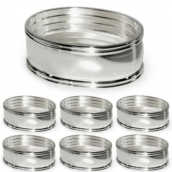 Edzard Napkin Rings Thread, set of 6, oval, shiny silver plated non tarnishing, Ø 6 cm
