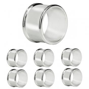 Edzard Napkin Rings Madrid, set of 6, round, shiny silver plated non tarnishing, Ø 4 cm