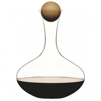 Sagaform Red Wine Carafe/Decanter, oak wood stopper, crystal glass, h 27 cm, capacity 2 l