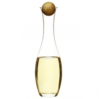 Sagaform White Wine Carafe/Water Carafe, oak wood stopper, crystal glass, h 34 cm, capacity 1 l