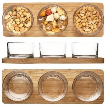 Sagaform Servierschalen Set, mit 3 Schalen, Bambus/Glas, L 31 x B 10,5 x H 5 cm
